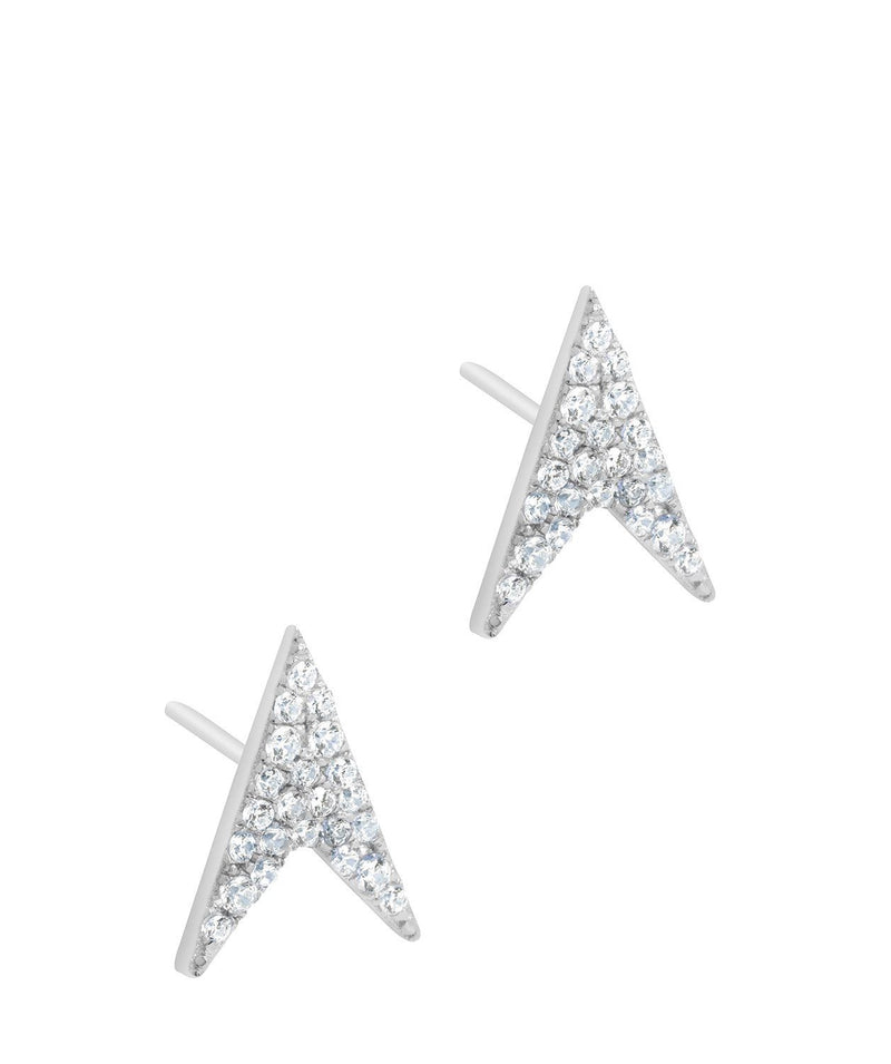 Gift Packaged 'Ines' Rhodium Plated 925 Silver Arrow Earrings