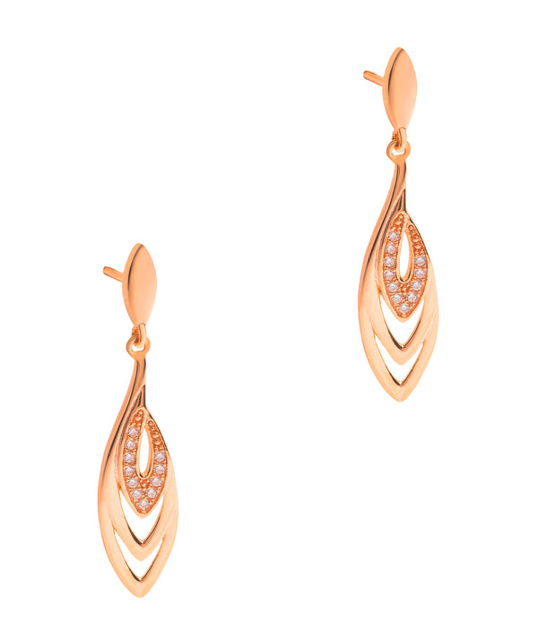 Gift Packaged 'Perry' 18ct Rose Gold Plated 925 Silver & Cubic Zirconia Earrings