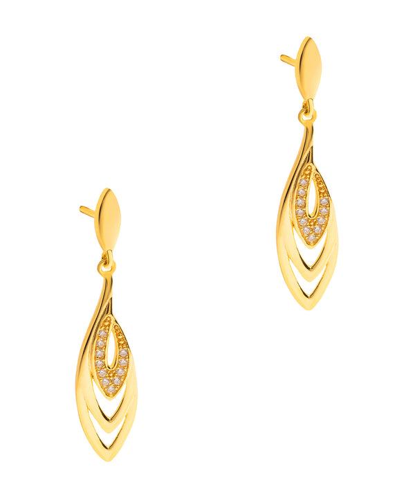 Gift Packaged 'Perry' 18ct Yellow Gold Plated 925 Silver & Cubic Zirconia Earrings