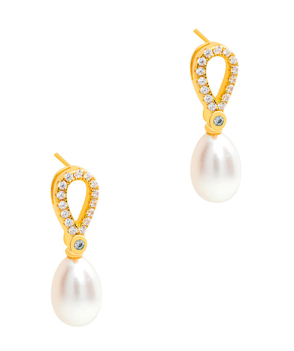 Gift Packaged 'Spencer' 18ct Yellow Gold Plated 925 Silver Cubic Zirconia Pearl Earrings