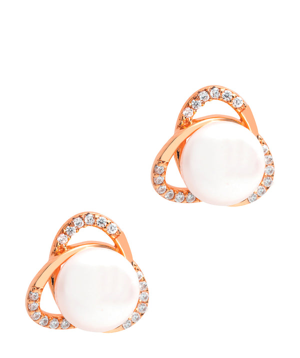 Gift Packaged 'Ortega' 18ct Rose Gold Plated 925 Silver & Freshwater Pearl Earrings