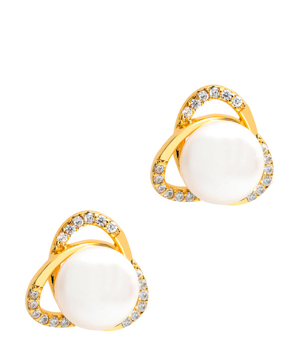 Gift Packaged 'Ortega' 18ct Yellow Gold Plated 925 Silver & Freshwater Pearl Earrings
