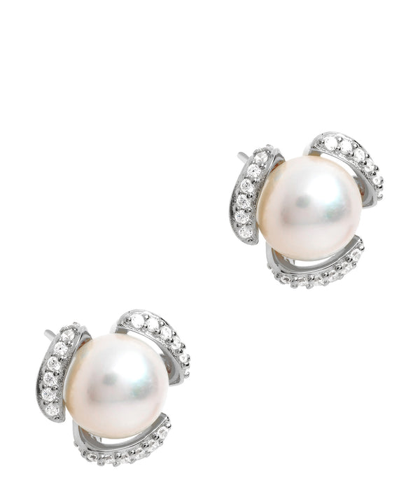 Gift Packaged 'Kadis' Rhodium Plated 925 Silver and Freshwater Pearl Stud Earrings