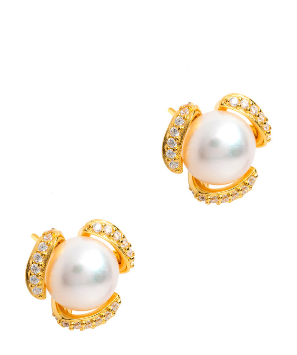 Gift Packaged 'Kadis' 18ct Yellow Gold Plated 925 Silver and Freshwater Pearl Stud Earrings