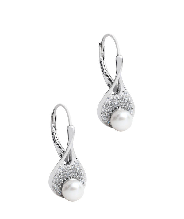 Gift Packaged 'Fernada' Rhodium 925 Silver Pearl Drop Earrings