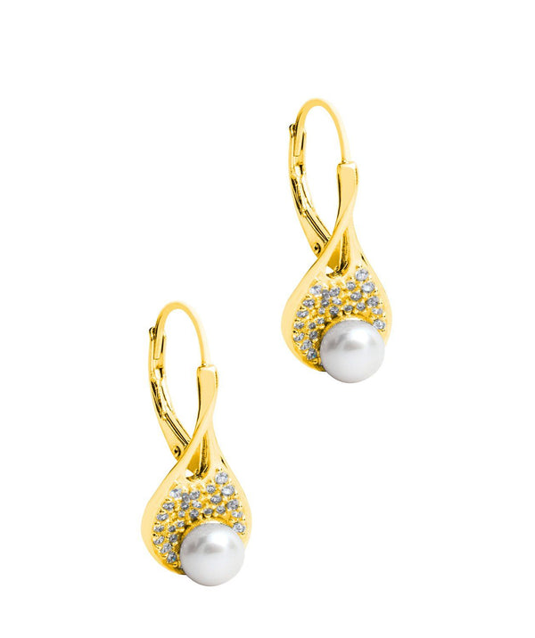 Gift Packaged 'Fernada' 18ct Yellow Gold Plated 925 Silver Pearl Drop Earrings