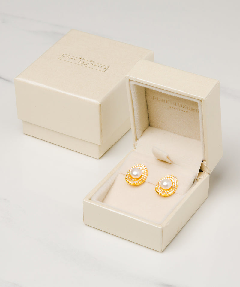 Gift Packaged 'Consuelo' 18ct Yellow Gold Plated 925 Silver and Freshwater Pearl Stud Earrings