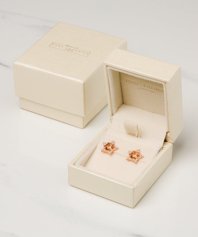 Gift Packaged 'Delisle' 18ct Rose Gold Plated 925 Silver & Cubic Zirconia Star Stud Earrings