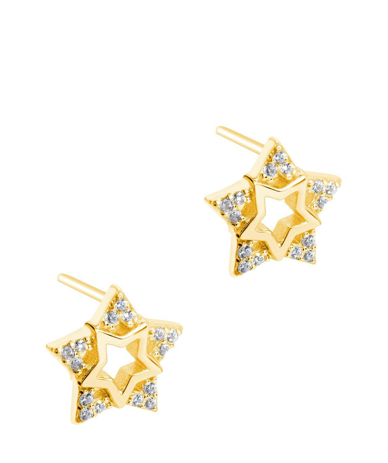 Gift Packaged 'Delisle' 18ct Yellow Gold Plated 925 Silver & Cubic Zirconia Star Stud Earrings