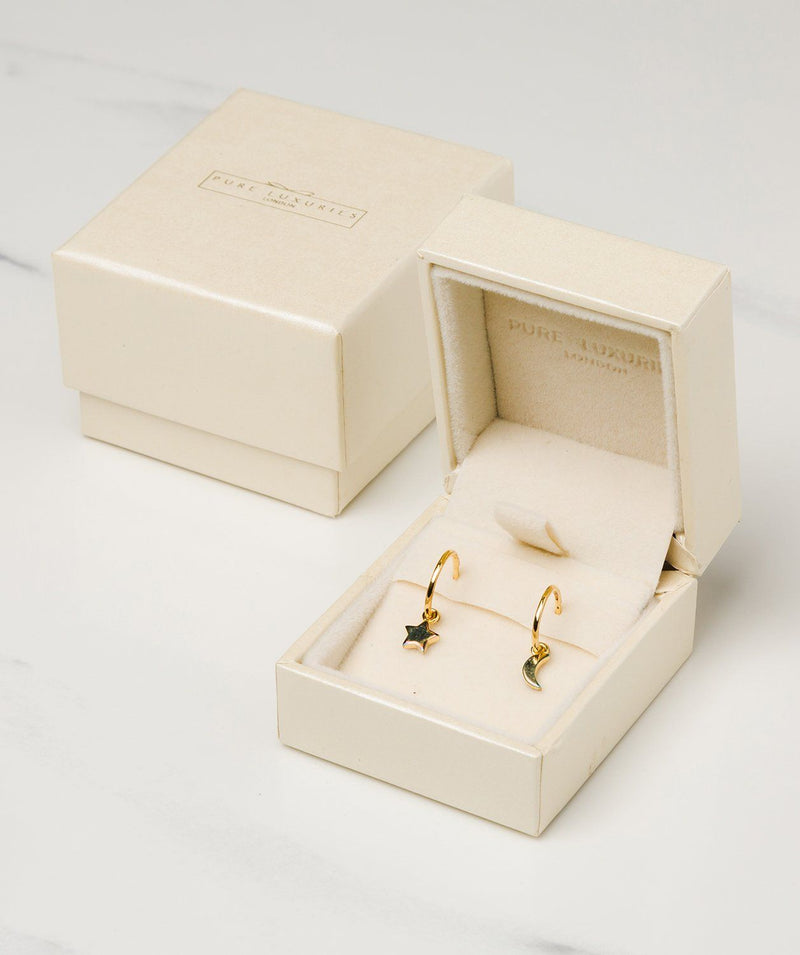Gift Packaged 'Jacqueline' 18ct Yellow Gold Plated 925 Silver Star & Moon Hoop Earrings