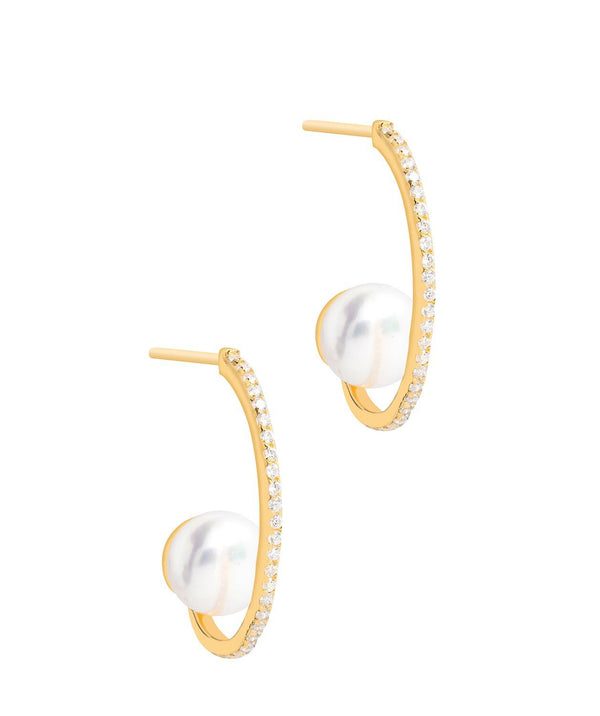 Gift Packaged 'Leroux' 18ct Yellow Gold Plated 925 Silver Hanging Freshwater Pearl Earrings