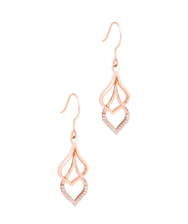 Copy of 'Yanet' 18ct Rose Gold Plated 925 Silver Hanging and Cubic Zirconia Teardrops Earrings Pure Luxuries London
