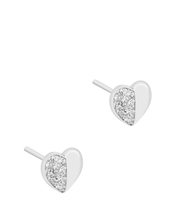 Gift Packaged 'Leonie' Rhodium Plated 925 Silver & Cubic Zirconia Heart Earrings