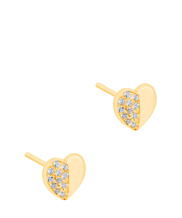 Gift Packaged 'Leonie' 18ct Yellow Gold Plated 925 Silver & Cubic Zirconia Heart Earrings