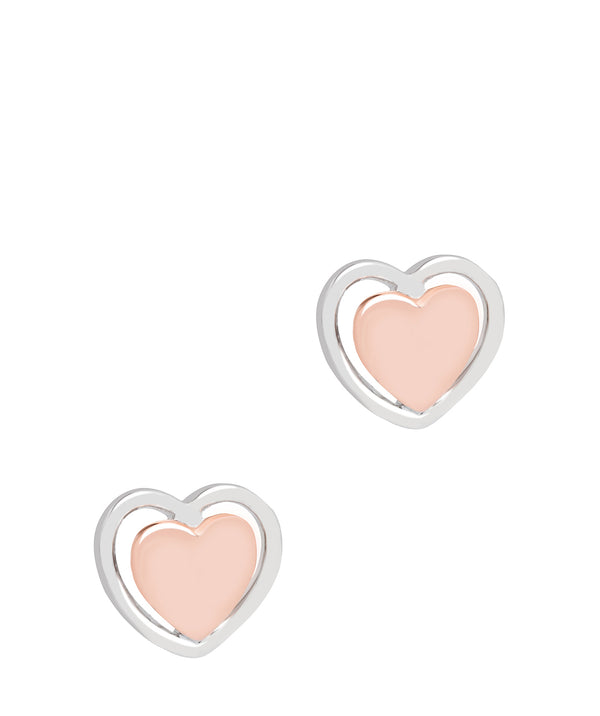 Gift Packaged 'Violette' 18ct Rose Gold & Rhodium Plated 925 Silver Heart Earrings