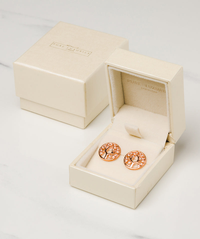 Gift Packaged 'Ana' 18ct Rose Gold Plated 925 Silver & Cubic Zirconia Branch Earrings