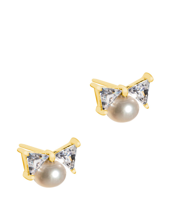 'Bijou' 18ct Gold Plated 925 Silver and Freshwater Pearl with Cubic Zirconia Bow Earrings Pure Luxuries London