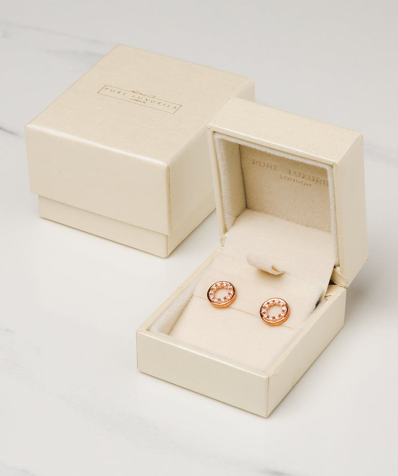 'Cezanne' 18ct Rose Gold plated 925 Silver with Cubic Zirconia Circle Earrings Pure Luxuries London