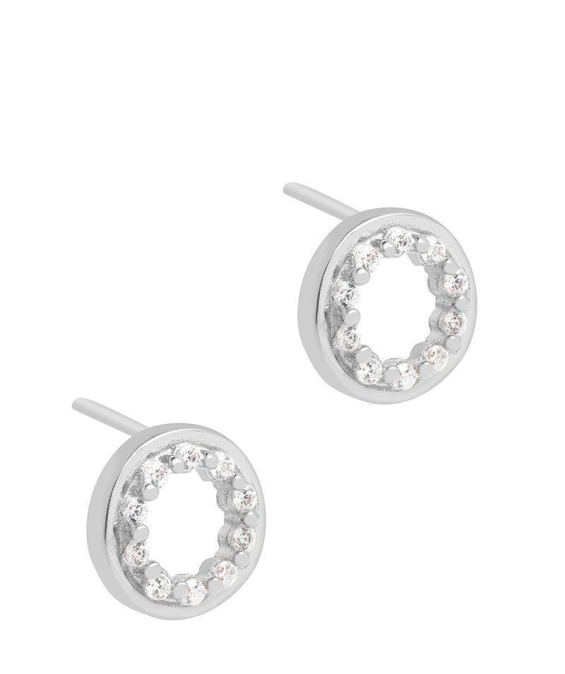 'Cezanne' Rhodium Plated 925 Silver with Cubic Zirconia Circle Earrings Pure Luxuries London