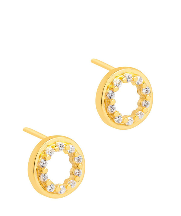 'Cezanne' 18ct Yellow Gold plated 925 Silver with Cubic Zirconia Circle Earrings Pure Luxuries London