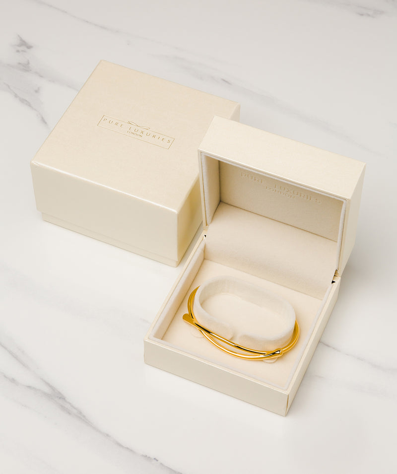 'Elle' Yellow Gold Plated Sterling Silver Minimalist Bangle Pure Luxuries London