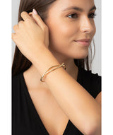 Gift Packaged 'Elle' 18ct Yellow Gold Plated 925 Silver Minimalist Bangle