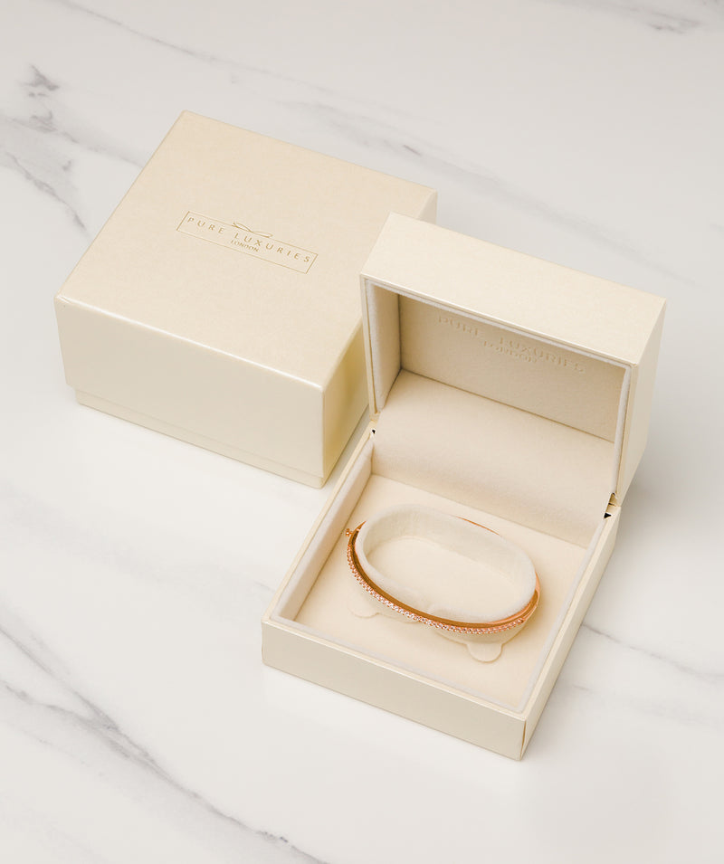 'Cecile' Rose Gold Plated Sterling Silver and Cubic Ziconia Bangle Pure Luxuries London
