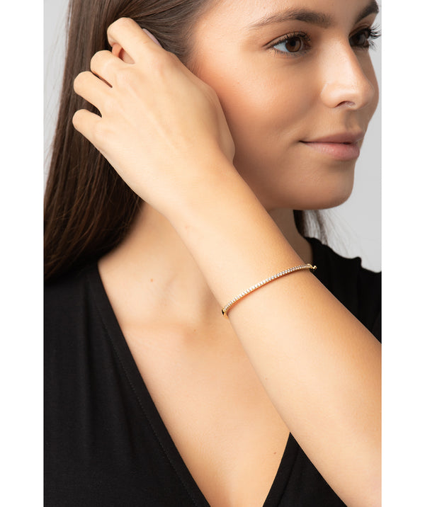 Gift Packaged 'Cecile' 18ct Yellow Gold Plated 925 Silver and Cubic Ziconia Bangle