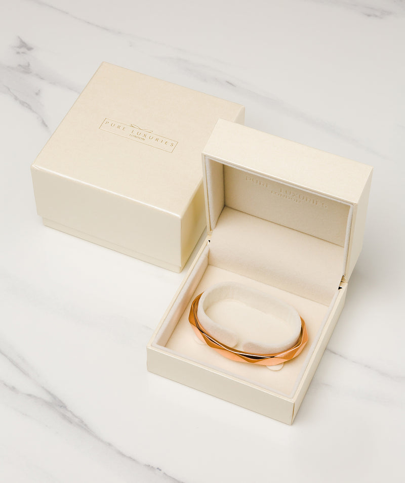 'Aurelle' Rose Gold Plated Sterling Silver Bangle Pure Luxuries London
