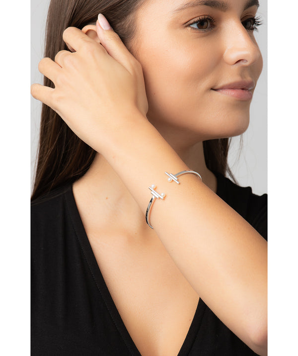 Gift Packaged 'Aubrielle' Rhodium Plated 925 Silver & Freshwater Pearl Bangle