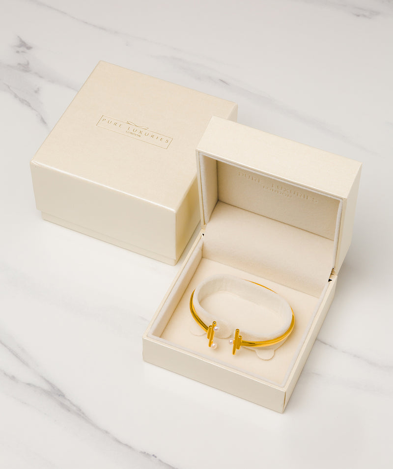 Gift Packaged 'Aubrielle' 18ct Gold Plated 925 Silver & Freshwater Pearl Bangle
