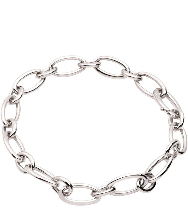 Gift Packaged 'Amalia' Rhodium Plated 925 Silver Petite Link Bracelet