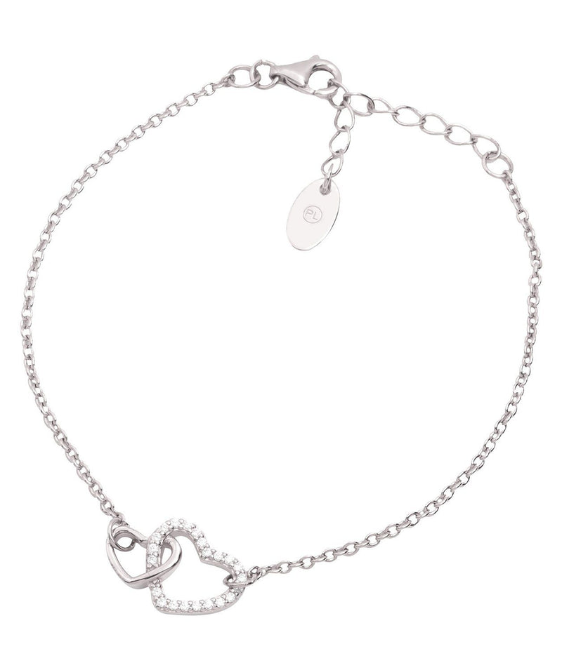 Gift Packaged 'Cecelia' Rhodium Plated 925 Silver Heart Bracelet