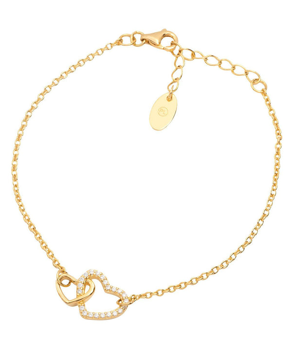 Gift Packaged 'Cecelia' 18ct Yellow Gold Plated Sterling Silver Heart Bracelet