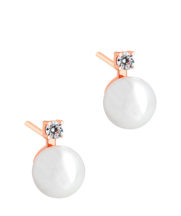 'Tomasa' Rose Gold Plated Sterling Silver and Pearl Earrings Pure Luxuries London