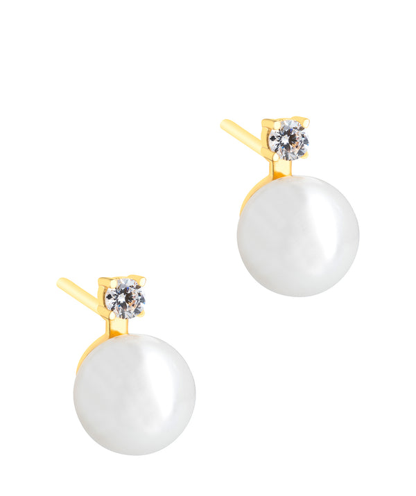 'Tomasa' Yellow Gold Plated Sterling Silver and Pearl Earrings Pure Luxuries London