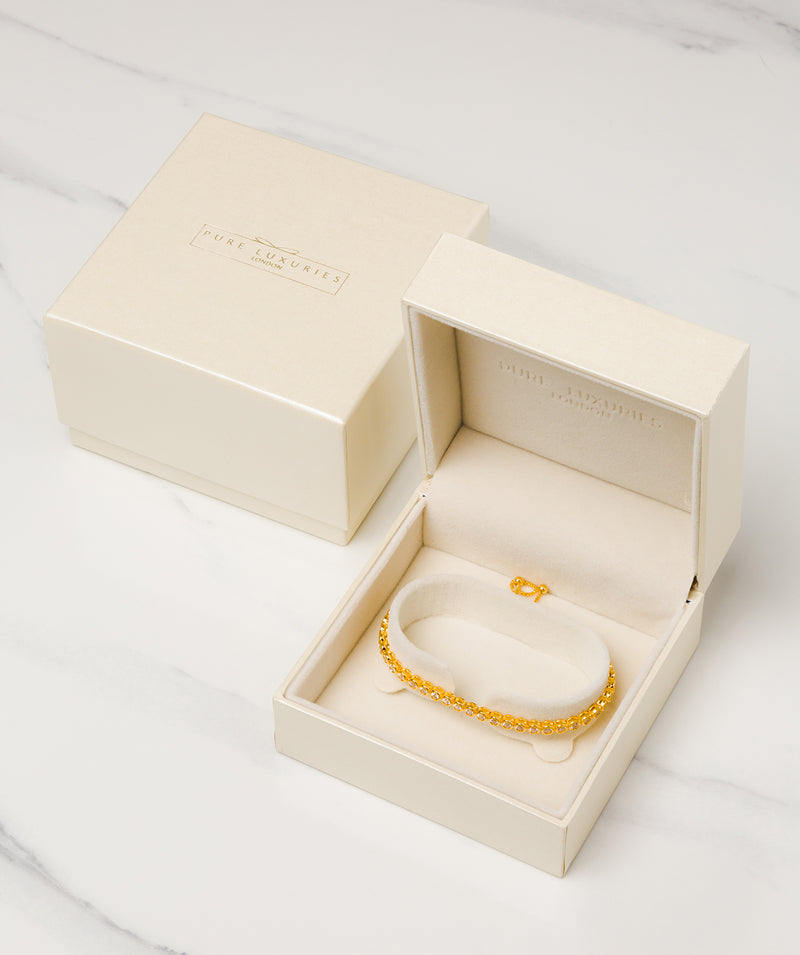 'Harriet' Yellow Gold Plated Sterling Silver and Cubic Zirconia Bracelet Pure Luxuries London