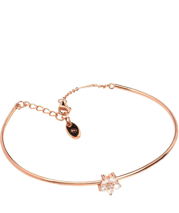 Gift Packaged 'Lopez' Rose Gold Plated Sterling Silver and Cubic Zirconia Flower Bracelet Pure Luxuries London