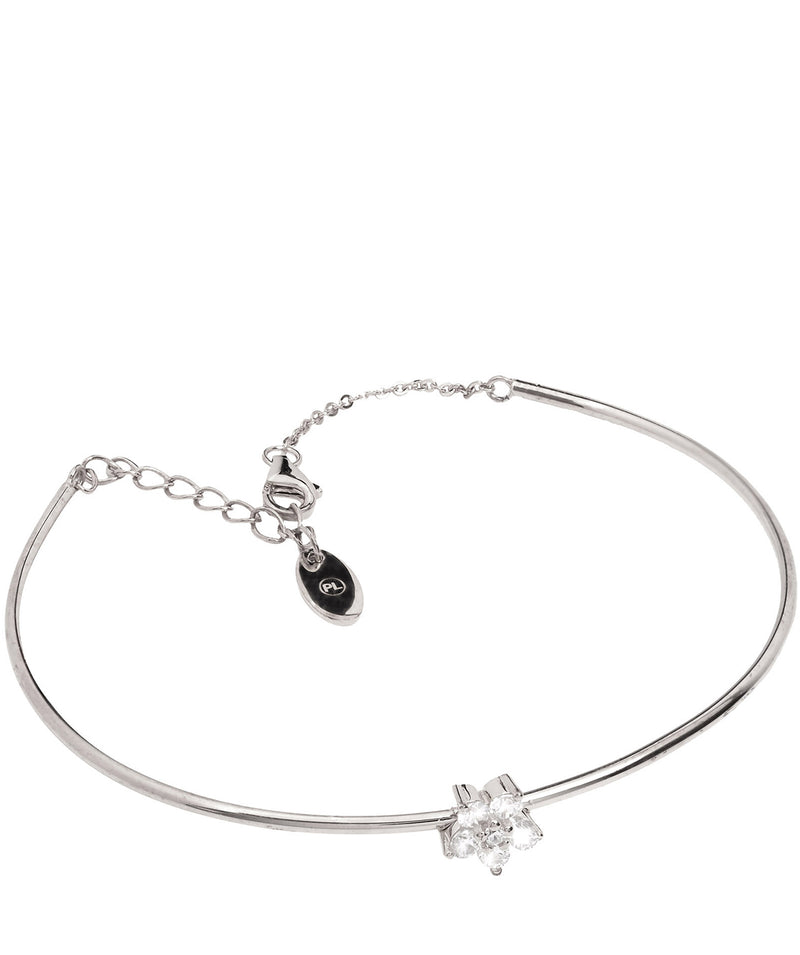 'Lopez' Sterling Silver and Cubic Zirconia Flower Bracelet Pure Luxuries London
