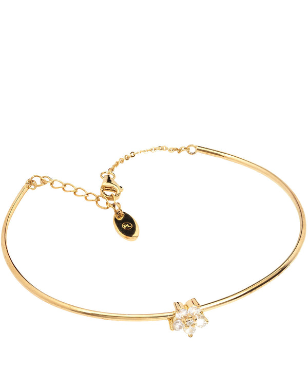 'Lopez' Yellow Gold Plated Sterling Silver and Cubic Zirconia Flower Bracelet Pure Luxuries London