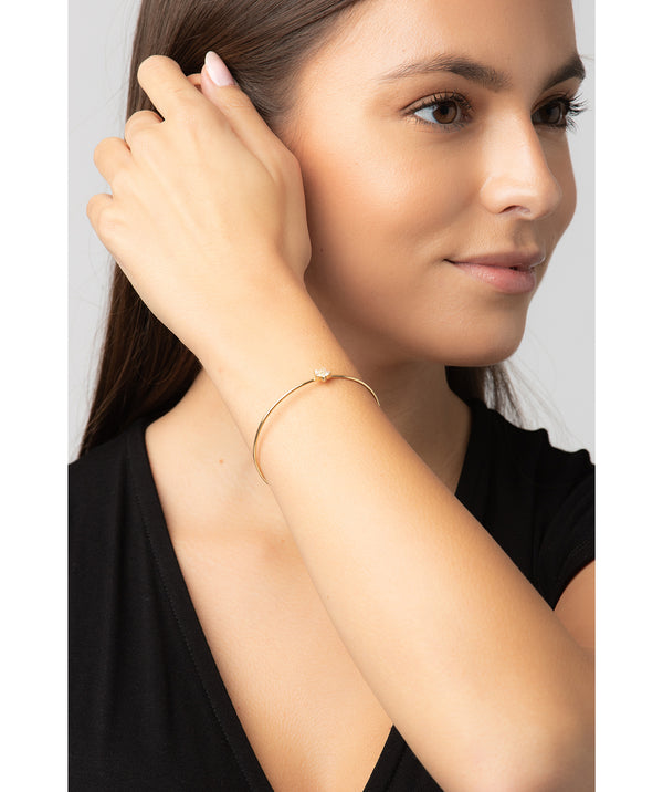 Gift Packaged 'Lopez' 18ct Yellow Gold Plated 925 Silver and Cubic Zirconia Flower Bracelet