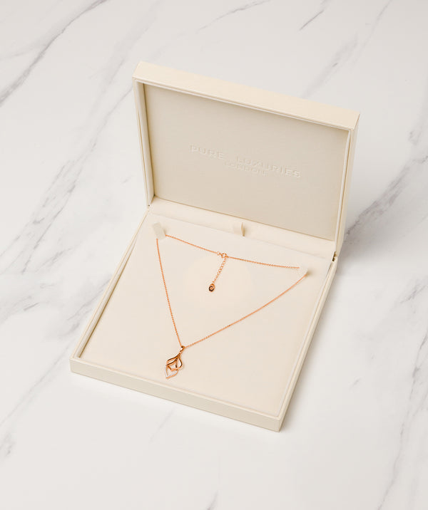 Gift Packaged 'Tessa' 18ct Rose Gold Plated 925 Silver & Cubic Zirconia Hanging Teardrops Necklace