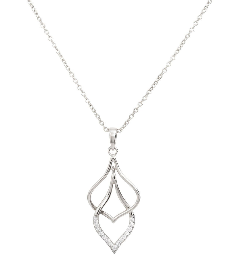 Gift Packaged 'Tessa' Rhodium Plated 925 Silver & Cubic Zirconia Hanging Teardrops Necklace