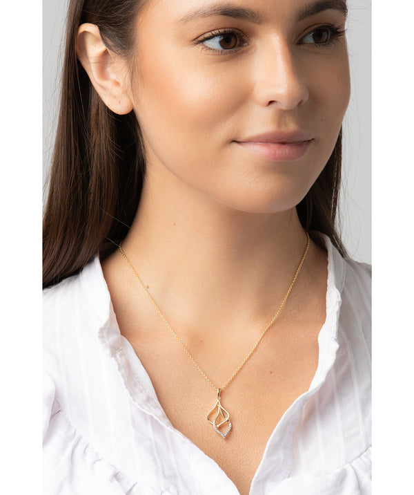 Gift Packaged 'Tessa' 18ct Yellow Gold Plated 925 Silver & Cubic Zirconia Hanging Teardrops Necklace