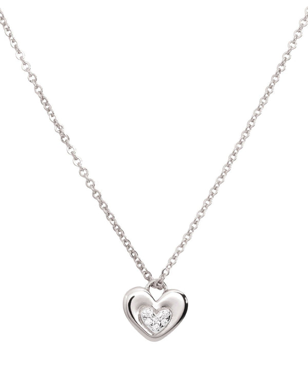 Gift Packaged 'Yelena' Rhodium Plated 925 Silver & Cubic Zirconia Heart Necklace