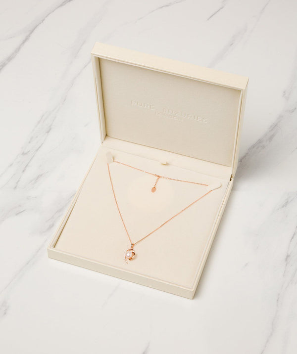 Gift Packaged 'Aurora' 18ct Rose Gold Plated 925 Silver with Freshwater Pearl