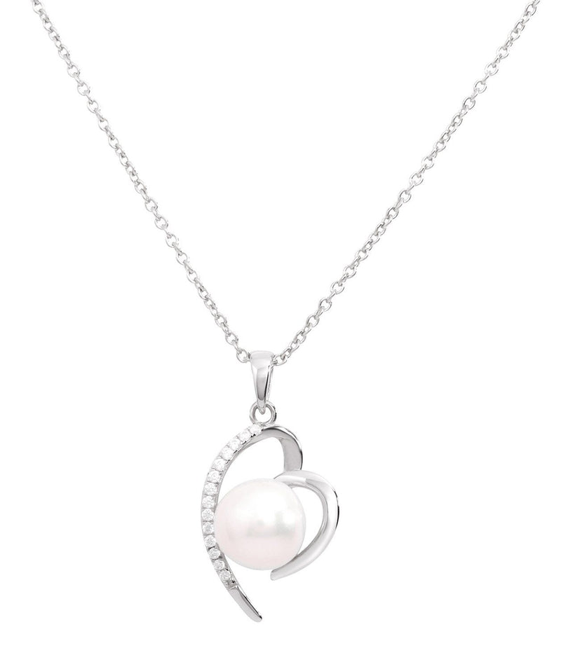 Gift Packaged 'Aurora' Rhodium Plated 925 Silver with Freshwater Pearl