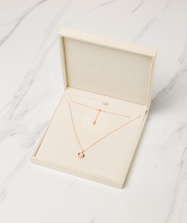 Gift Packaged 'Vesna' 18ct Rose Gold Plated 925 Silver & Freshwater Pearl Heart Necklace