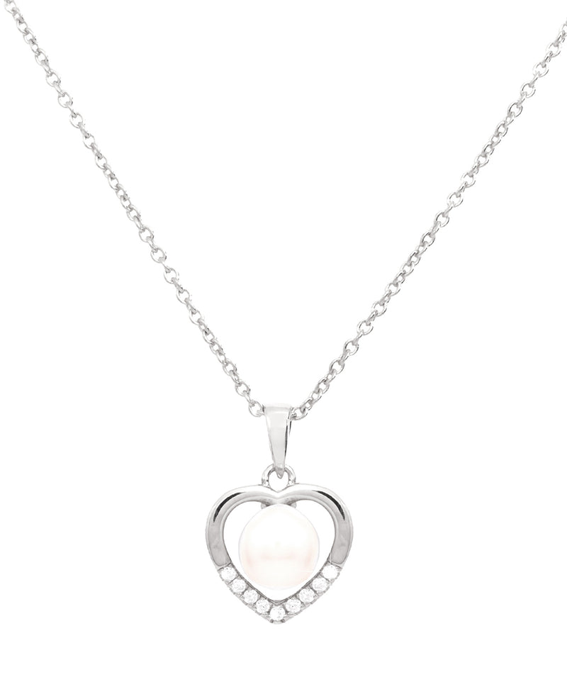 Gift Packaged 'Vesna' Rhodium Plated 925 Silver & Freshwater Pearl Heart Necklace