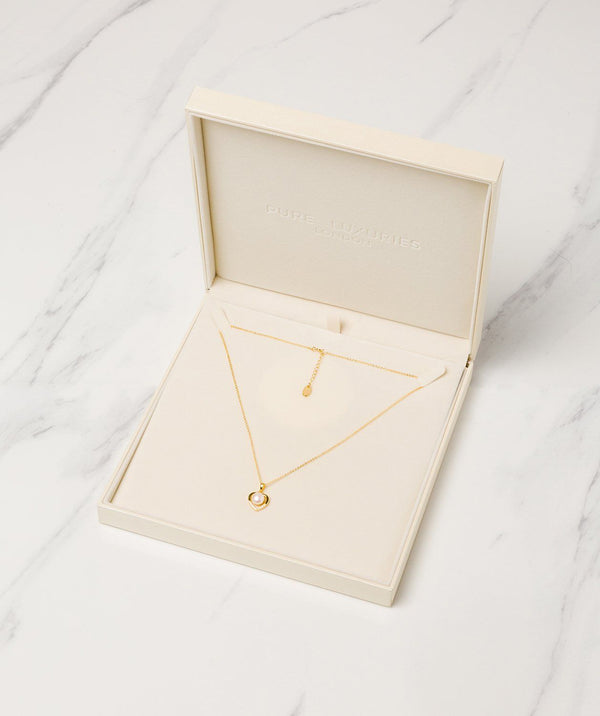 Gift Packaged 'Vesna' 18ct Gold Plated 925 Silver & Freshwater Pearl Heart Necklace
